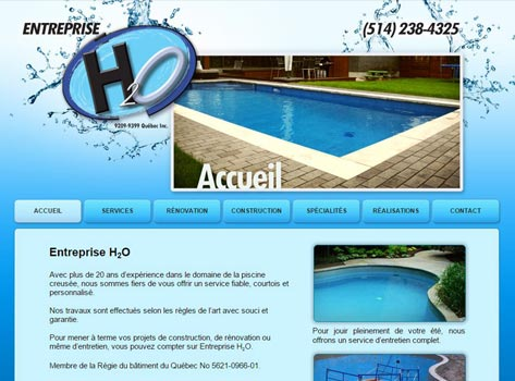 Entreprise H2O conception du site web par Direction Web